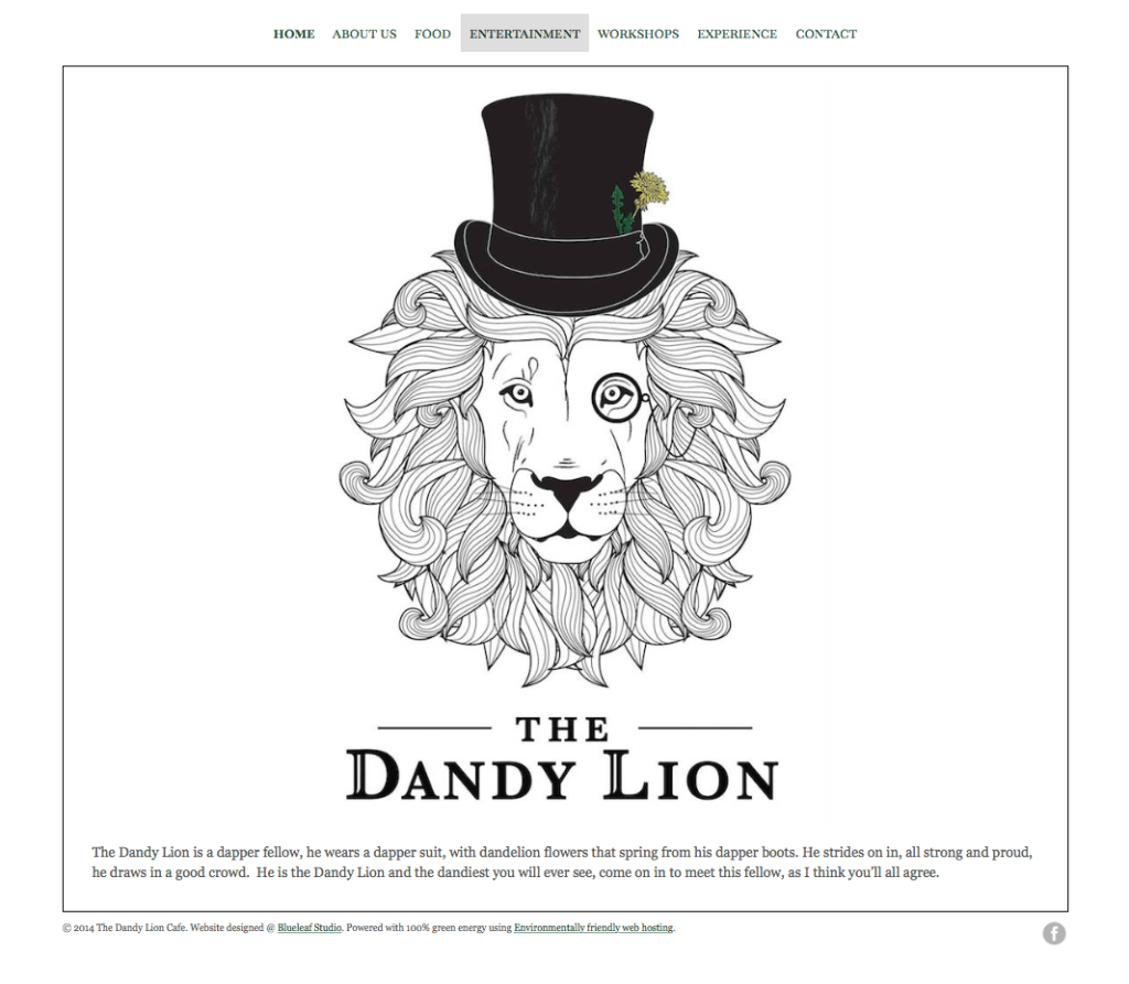 Festival Website Design - The dandy Lion Cafe- Home